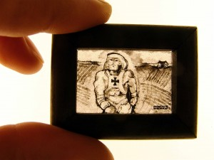 Master of the Universe 1  (2009) glass painting, sandblasted; wood frame, gold leaf